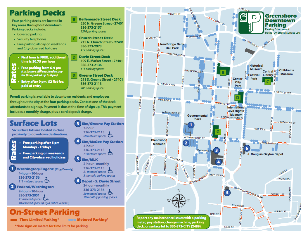 Downtown Greensboro Parking map